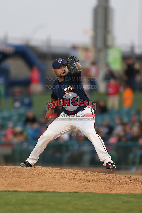 Gonzalo Sanudo (36) of the Lancaster JetHawks pitches during a game against the San Jose Giants at The Hanger on April 11, 2015 in Lancaster, California. San Jose defeated Lancaster, 8-3. (Larry Goren/Four Seam Images)