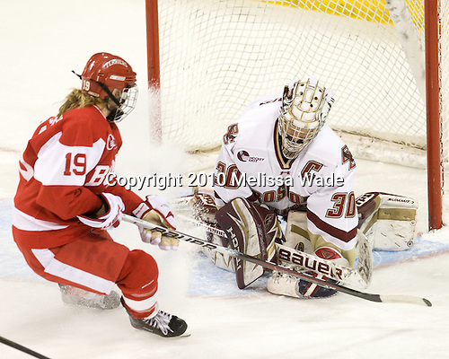 Jenelle Kohanchuk (BU - 19), Molly Schaus (BC - 30) - The visiting Boston University Terriers defeated the Boston College Eagles 1-0 on Sunday, November 21, 2010, at Conte Forum in Chestnut Hill, Massachusetts.