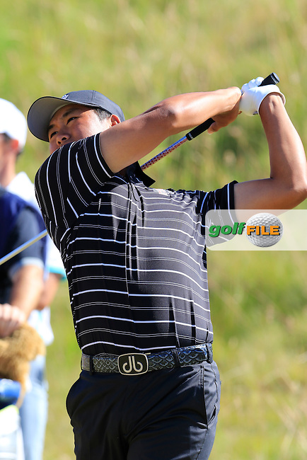 Gunn Yang (AM)(KOR) tees off the 7th tee during Friday's Round 2 of the 2015 U.S. Open 115th National Championship held at Chambers Bay, Seattle, Washington, USA. 6/20/2015.<br /> Picture: Golffile | Eoin Clarke<br /> <br /> <br /> <br /> <br /> All photo usage must carry mandatory copyright credit (&copy; Golffile | Eoin Clarke)