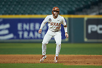 Lance Ford (28) of the Texas Longhorns takes his lead off of first base against the Missouri Tigers in game eight of the 2020 Shriners Hospitals for Children College Classic at Minute Maid Park on March 1, 2020 in Houston, Texas. The Tigers defeated the Longhorns 9-8. (Brian Westerholt/Four Seam Images)