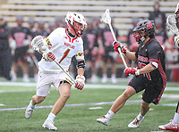 College Park, MD - April 15, 2018: Maryland Terrapins Connor Kelly (1) tries to get pass a Rutgers Scarlet Knights defender during game between Rutgers and Maryland at  Capital One Field at Maryland Stadium in College Park, MD.  (Photo by Elliott Brown/Media Images International)