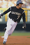 01 October  2007:  Colorado second baseman, Kazuo Matsui rounds third base during the Rockies extra inning, 9-8 victory over the San Diego Padres at Coors Field, Denver, Colorado.