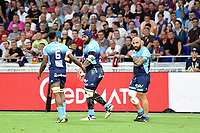 Nemani Nadolo of Montpellier celebrates a try during the Top 14 semi final match between Montpellier Herault Rugby and Lyon on May 25, 2018 in Lyon, France. (Photo by Alexandre Dimou/Icon Sport)