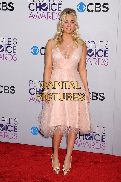 Kaley Cuoco.People's Choice Awards 2013 - Arrivals held at Nokia Theatre L.A. Live, Los Angeles, California, USA..January 9th, 2013.full length dress pink sheer lace .CAP/ADM/BP.©Byron Purvis/AdMedia/Capital Pictures.