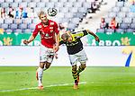 Solna 2014-07-12 Fotboll Allsvenskan AIK - Kalmar FF :  <br /> Kalmars Sebastian Andersson nickar mot m&aring;l i duell med Martin Lorentzson <br /> (Foto: Kenta J&ouml;nsson) Nyckelord:  AIK Gnaget Friends Arena Kalmar KFF