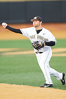 Wake Forest Demon Deacons second baseman Nate Mondou (10) makes a throw to first base against the Maryland Terrapins at Wake Forest Baseball Park on April 4, 2014 in Winston-Salem, North Carolina.  The Demon Deacons defeated the Terrapins 6-4.  (Brian Westerholt/Four Seam Images)