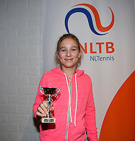 November 30, 2014, Almere, Tennis, Winter Youth Circuit, WJC,  Prizegiving,  Anouk Koevermans 8th place<br /> Photo: Henk Koster