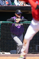 Louisville Bats pitching coach Ted Power (48) during a game against the Buffalo Bisons on May 2, 2015 at Coca-Cola Field in Buffalo, New York.  Louisville defeated Buffalo 5-2.  (Mike Janes/Four Seam Images)