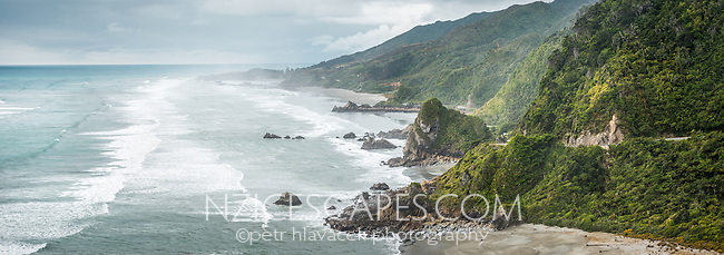 Scenic coastline near Punakaiki, Paparoa National Park, Buller Region, West Coast, New Zealand, NZ