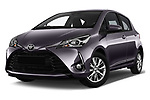 Stock pictures of low aggressive front three quarter view of 2017 Toyota Yaris Y-conic 5 Door Hatchback