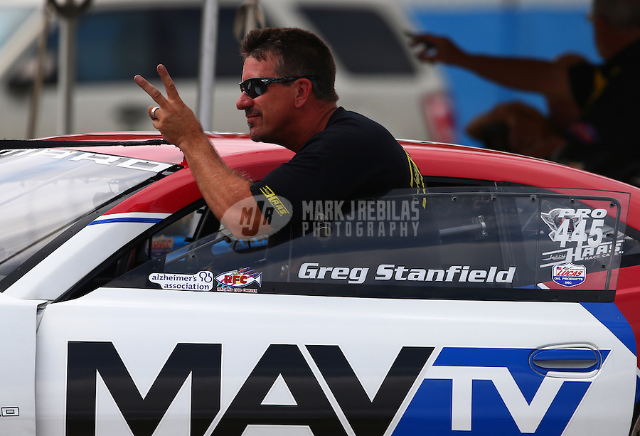 Sept. 1, 2013; Clermont, IN, USA: NHRA pro stock driver Greg Stanfield during qualifying for the US Nationals at Lucas Oil Raceway. Mandatory Credit: Mark J. Rebilas-