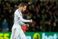 Gylfi Sigurdsson of Swansea celebrates scoring the first half penalty during the Barclays Premier League match between Swansea City and Sunderland played at the Liberty Stadium, Swansea  on  January the 13th 2016