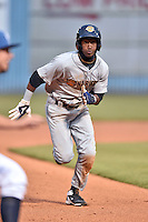 Asheville Tourists shortstop Jorge Mateo (2) runs to third during a game against the Charleston RiverDogs on April 30, 2015 in Asheville, North Carolina. The RiverDogs defeated the Tourists 5-4. (Tony Farlow/Four Seam Images)