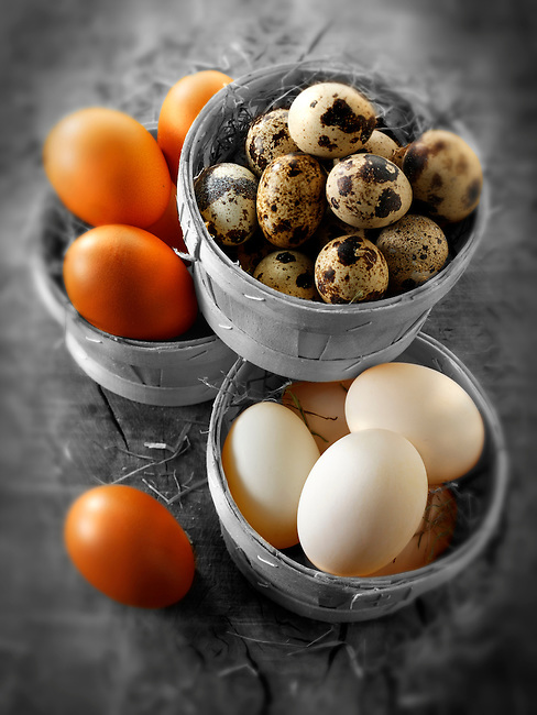 Punets of fresh organic Quail, duck & Chicken eggs