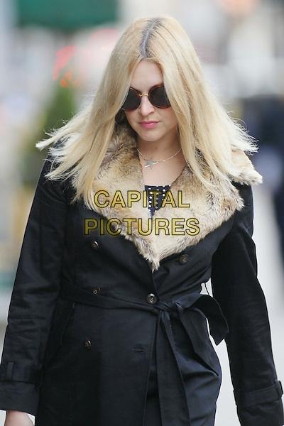Fearne Cotton in central London, England..October 2nd, 2012.half length black coat fur collar trim sunglasses shades  pregnant .CAP/HIL.©John Hillcoat/Capital Pictures .