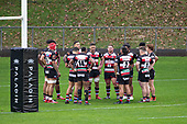 Steelers gather by the posts as they wait for the conversion of the Sean Wainui try. Mitre 10 Cup rugby game between Counties Manukau Steelers and Taranaki Bulls, played at Navigation Homes Stadium, Pukekohe on Saturday August 10th 2019. Taranaki won the game 34 - 29 after leading 29 - 19 at halftime.<br /> Photo by Richard Spranger.