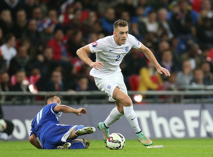 England's Calum Chambers in action during todays match  <br /> Photographer Kieran Galvin/CameraSport<br /> <br /> International Football - UEFA EURO 2016 - European Qualifiers Group E - England v San Marino - Thursday 9th October 2014 - Wembley Stadium - London <br /> <br /> &copy; CameraSport - 43 Linden Ave. Countesthorpe. Leicester. England. LE8 5PG - Tel: +44 (0) 116 277 4147 - admin@camerasport.com - www.camerasport.com