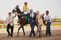 Grace Hall, connections and jockey Javier Castellano after winning the Gulfstream Oaks (G2). Gulfstream Park Hallandale Beach Florida. 03-31-2012. Arron Haggart/Eclipse Sportswire