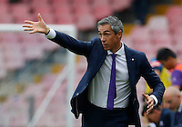 Fiorentina's Coach Paulo Sousa gestures during the Italian Serie A soccer match between SSC Napoli and AC Fiorentina  at San Paolo stadium in Naples,October 18, 2015