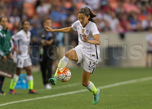 21.02.2016. Houston, TX, USA.  USA Forward Christen Press (12) during the Women's Olympic qualifying soccer final match between Canada and USA at BBVA Compass Stadium in Houston, Texas.
