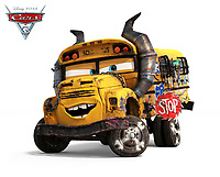 Cars 3 (2017) <br /> Miss Fritter (voice of Lea DeLaria)&nbsp;loves the smash-and-crash life of demolition derby. A local legend at the Thunder Hollow Speedway, Fritter&rsquo;s formidable school-bus size is intimidating, but it&rsquo;s her smoke stacks of doom, razor-sharp stop sign and crazy collection of her victims&rsquo; license plates that usually steers her opponents in the other direction.<br /> *Filmstill - Editorial Use Only*<br /> CAP/KFS<br /> Image supplied by Capital Pictures