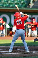 Connor Justus (16) of the Orem Owlz at bat against the Ogden Raptors in Pioneer League action at Lindquist Field on June 27, 2016 in Ogden, Utah. Orem defeated Ogden 4-3. (Stephen Smith/Four Seam Images)