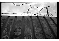 Graffiti and barbed wire in Krakow, Poland