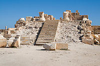 Sabratha, Libya, North Africa - Roman ruins.  Antonine Temple,  reconstructed 1920s.