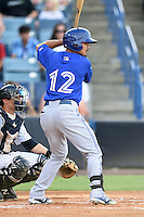 Dunedin Blue Jays outfielder Nick Baligod (12) at bat during a game against the Tampa Yankees on June 28, 2014 at George M. Steinbrenner Field in Tampa, Florida.  Tampa defeated Dunedin 5-2.  (Mike Janes/Four Seam Images)