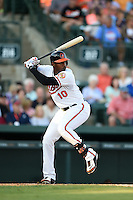 Baltimore Orioles outfielder Adam Jones (10) during a Spring Training game against the Atlanta Braves on April 3, 2015 at Ed Smith Stadium in Sarasota, Florida.  Baltimore defeated Atlanta 3-2.  (Mike Janes/Four Seam Images)