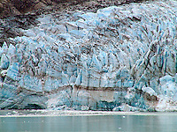 GLACIER<br /> Glaical Ice, Glacier Bay Alaska<br /> Glacial ice has a blue appearance due to the fact that les energetic light wavelengths near the red end of the spectrum are absorbed by ice crystals.