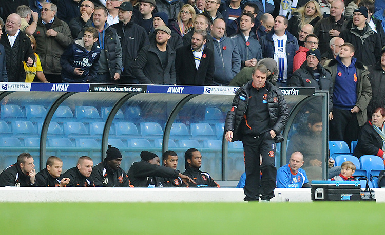 Blackpool manager Lee Clark looks dejected after Leeds go 1-0 up<br /> <br /> Photographer Kevin Barnes/CameraSport<br /> <br /> Football - The Football League Sky Bet Championship - Leeds United v Blackpool - Saturday 8th November 2014 - Elland Road - Leeds<br /> <br /> &copy; CameraSport - 43 Linden Ave. Countesthorpe. Leicester. England. LE8 5PG - Tel: +44 (0) 116 277 4147 - admin@camerasport.com - www.camerasport.com