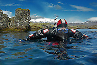 At the Silfra Rift in the National Park Thingvellir, the crack between the North America and Eurasian continents can be experienced under water. This a truly one-of-a-kind snorkeling adventure floating in crystal the clear glacial water flowing into Thingvellir Lake.