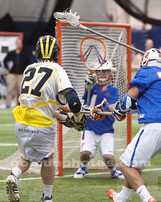 University of Michigan's men's lacrosse  26-6 victory over Florida at  Oosterbaan Fieldhouse in Ann Arbor, MI, on February 19, 2011.