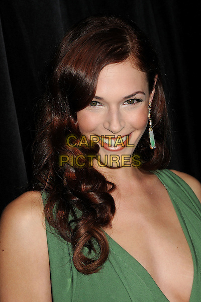 AMANDA RIGHETTI .9th Annual Awards Season Diamond Fashion Show Preview Hosted By The Diamond Information Center and InStyle held at the Beverly Hills Hotel, Beverly Hills, California, USA,  .14th January 2010..Portrait headshot green earring dangly low cut smiling .CAP/ADM/BP.©Byron Purvis/Admedia/Capital Pictures