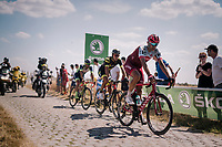 Nils Politt (DEU/Katusha-Alpecin) on pav&eacute; sector #3<br /> <br /> Stage 9: Arras Citadelle &gt; Roubaix (154km)<br /> <br /> 105th Tour de France 2018<br /> &copy;kramon