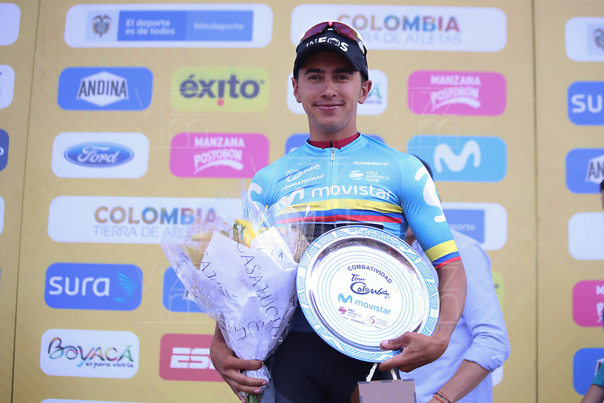 TUNJA - COLOMBIA, 13-02-2020: Sebastian Henao (COL) TEAM INEOS líder de la combatividad después de la tercera etapa del Tour Colombia 2.1 2020 con un recorrido de 177,7 km que se corrió entre Paipa y Sogamoso, Boyacá. / Sebastian Henao (COL) TEAM INEOS combativity leader after the third stage of 177,7 km as part of Tour Colombia 2.1 2020 that ran between Paipa and Sogamoso, Boyaca.  Photo: VizzorImage / Darlin Bejarano / Cont