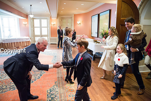 Prime Minister-designate Justin Trudeau and his family are welcomed to Rideau Hall by Governor General David Johnston and his wife Sharon. November 4, 2015.