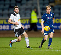 10th March 2020; Dens Park, Dundee, Scotland; Scottish Championship Football, Dundee FC versus Ayr United; Christophe Berra of Dundee and Aaron Drinan of Ayr United