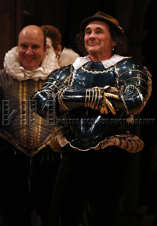 Paul Chahidi and Mark Rylance during at the Broadway Opening Night Performance Curtain Call for 'Richard III' at the Belasco Theatre on November 10, 2013 in New York City.
