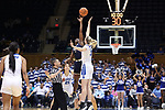 DURHAM, NC - FEBRUARY 04: Notre Dame's Jackie Young (5) wins the opening tip against Duke's Erin Mathias (35). The Duke University Blue Devils hosted the University of Notre Dame Fighting Irish on February 4, 2018 at Cameron Indoor Stadium in Durham, NC in a Division I women's college basketball game. Notre Dame won the game 72-54.