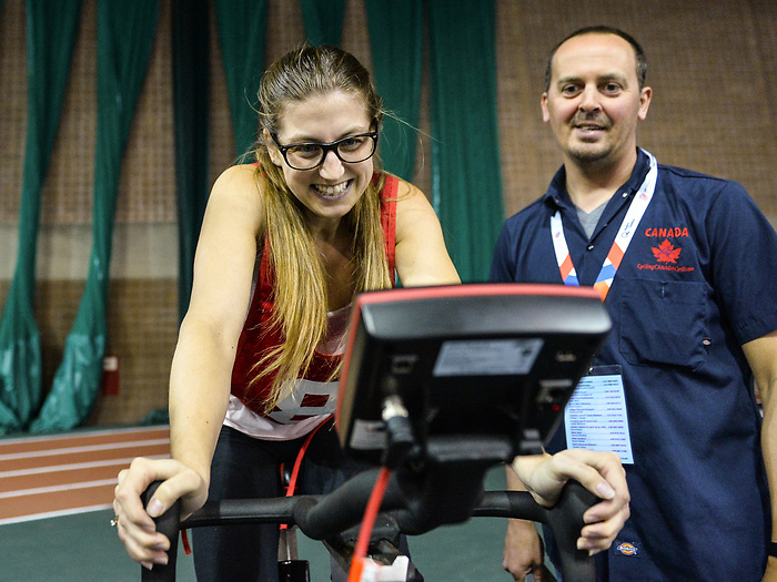 MONTREAL, QC - APRIL 29:  A participant cycles during the 2017 Montreal Paralympian Search at Complexe sportif Claude-Robillard. Photo: Minas Panagiotakis/Canadian Paralympic Committee