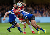 Gloucester Rugby's James Hanson is tackled by Bath Rugby's Joe Cokanasiga<br /> <br /> Photographer Bob Bradford/CameraSport<br /> <br /> Gallagher Premiership - Bath Rugby v Gloucester Rugby - Saturday September 8th 2018 - The Recreation Ground - Bath<br /> <br /> World Copyright &copy; 2018 CameraSport. All rights reserved. 43 Linden Ave. Countesthorpe. Leicester. England. LE8 5PG - Tel: +44 (0) 116 277 4147 - admin@camerasport.com - www.camerasport.com