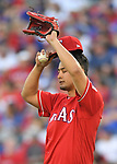 Yu Darvish (Rangers),<br /> APRIL 3, 2017 - MLB :<br /> Yu Darvish of the Texas Rangers reacts after giving up a two-run home run during the opening day of the Major League Baseball game against the Cleveland Indians at Globe Life Park in Arlington in Arlington, Texas, United States. (Photo by AFLO)