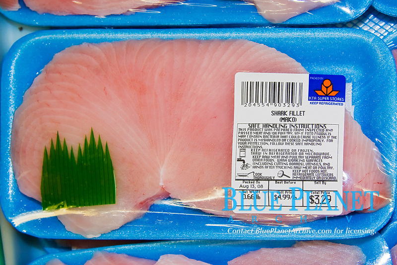 neatly packaged, fresh steak-cut fillets of shortfin mako shark meat for sale at supermarket in Kailua Kona, Big Island of Hawaii, USA, Pacific Ocean, Isurus oxyrinchus, local products