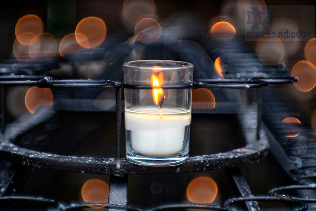 March 26, 2020; A candle at the Grotto. (Photo by Barbara Johnston/University of Notre Dame)