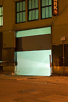 Entrance to Parking Garage in Brooklyn, New York City, Illuminated at Night