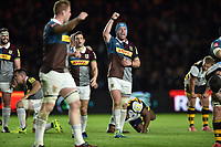 Joe Gray of Harlequins celebrates at the final whistle. Aviva Premiership match, between Harlequins and Wasps on April 28, 2017 at the Twickenham Stoop in London, England. Photo by: Patrick Khachfe / JMP