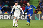 Getafe CF's Nemanja Maksimovic (r) and FC Krasnodar's Younes Namli during UEFA Europa League match. December 12,2019. (ALTERPHOTOS/Acero)
