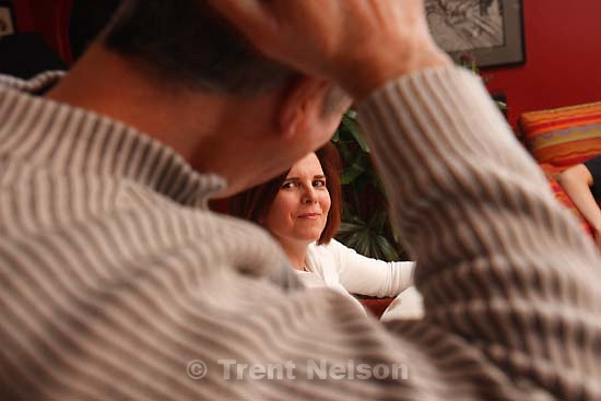 Salt Lake City - Stacy Hanson, who survived being shot at Trolley Square, and his wife Colleen, talk about their experiences of the year following the shooting, Thursday, February 7, 2008.